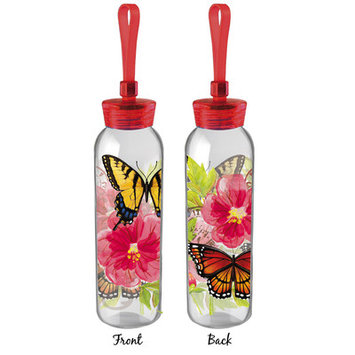 Red Barrel Studio Glenview Butterflies and Flowers 18 oz. Water Bottle