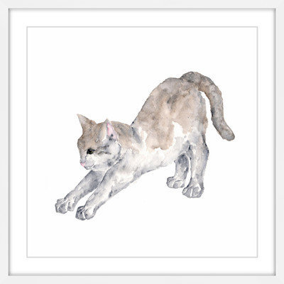 Marmont Hill Inc Marmont Hill - 'Stretching Cat' by Thimble Sparrow Framed Painting Print