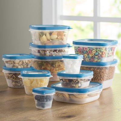 Wayfair Basics 24-Piece Plastic Food Storage Container Set Color: Teal