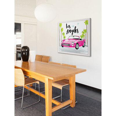 Marmont Hill Inc Marmont Hill - 'Pink Car' by Molly Rosner Framed Painting Print