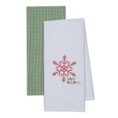 The Holiday Aisle Happy Holidays 2 Piece Dishcloth Set