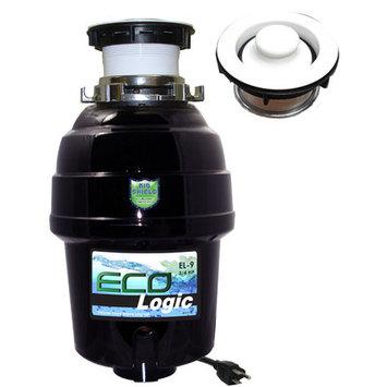 Joneca Corporation 3/4 HP Eco-Logic 9 Deluxe Designer Series Food Waste Disposer (3-Bolt) with White Sink Flange