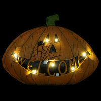 The Holiday Aisle Welcome Pumpkin Statue with Timer