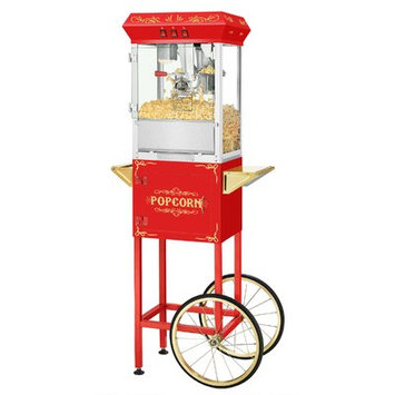 Superior Popcorn Company 0.25 Qt. Movie Night Popcorn Popper Machine with Cart Color: Red