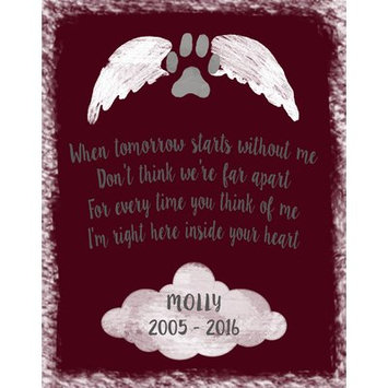 Hadleyhouseco Personalized Pet Memorial Textual Art Wall Plaque on Wood Matte Color: Berry Red