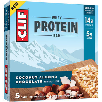 Clif® Coconut Almond Chocolate Whey Protein Bars 5-1.98 oz. Bars