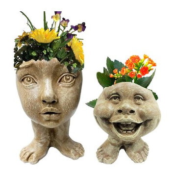 Homestyles Muggly's The Face Cous Sally and Little Buddy 2-Piece Statue Planter Color: Stone Wash
