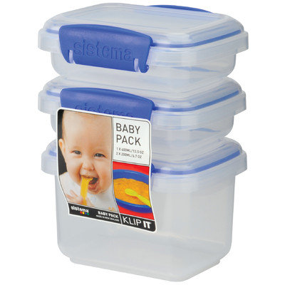 Sistema Usa Sistema Us Inc 1530 3 Count Klip It Baby Food Containers