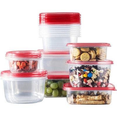 Wayfair Basics 34 Piece Plastic Food Storage Container Set Color: Red