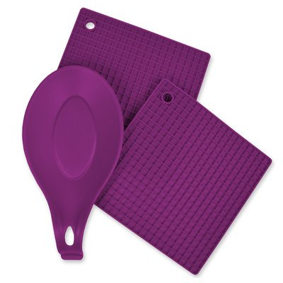 Design Imports Silicone Trivet and Spoon Rest 3 Piece Kitchen Accessory Set Purple