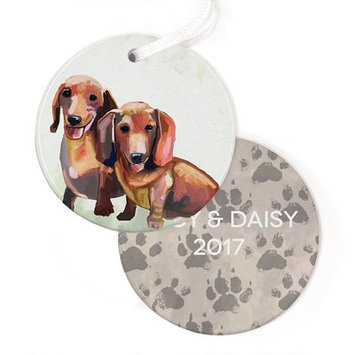 Greenbox Art Personalized Best Friend Dachshund Duo Hanging Ornament