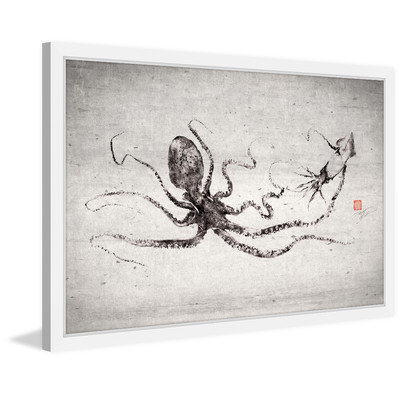 Marmont Hill Inc Marmont Hill - 'Octo vs Squid' by Dwight Hwang Framed Painting Print