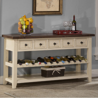 One Allium Way Orner Wine Rack Table Finish: Country White with Antique Pine Top