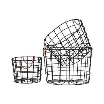Brayden Studio Round Nesting Wire 3 Piece Basket Set with 2 Handles Color: Black