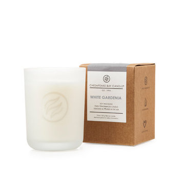 Chesapeake Bay Candle Heritage Collection Boxed Frosted Vessel with Single Wick Candle, White Gardenia