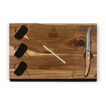 Picnic Time Cleveland Browns Delio Acacia Cheese Board with Acacia Markers