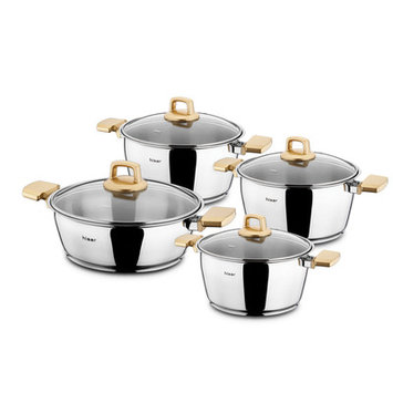 Hisr Neptun Pot Set with Lid Color: Gold