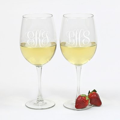 Red Barrel Studio OrchardHill Personalized 19 Oz. White Wine Glass