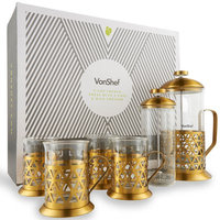 Vonshef 5 Piece 8-Cup Glass and Stainless Steel French Press Coffee Maker Set