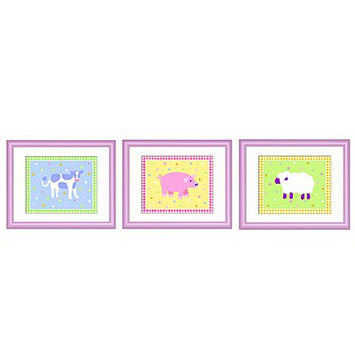 Olive Kids Country Baby Print with Lilac Frame (Set of 3)