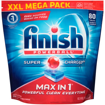 Finish® Powerball® Max in 1® Super Charged™ Automatic Dishwasher Detergent Tablets 80 ct Bag