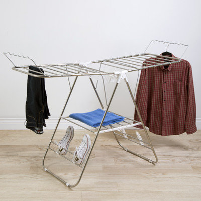 Sturdy Adjustable Gullwing Drying Rack, White And Grey