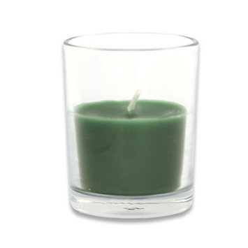 Zest Candle Set of 96 Bulk Hunter Green Round Glass Votive Candles