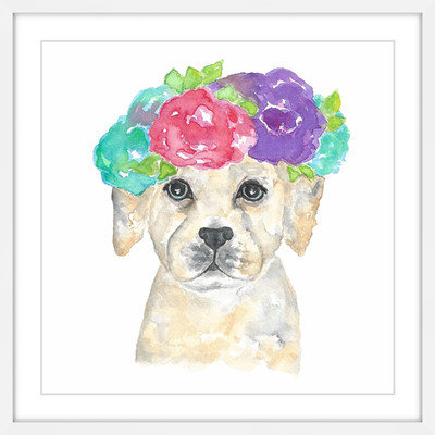 Marmont Hill Inc Marmont Hill - 'Dog with Flower Crown' by Thimble Sparrow Framed Painting Print