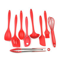 Chef Craft 9 Piece Silicone Kitchen Utensil Set Color: Red