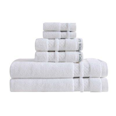 Vince Camuto Zero Twist 6 Piece Towel Set Color: Bright White