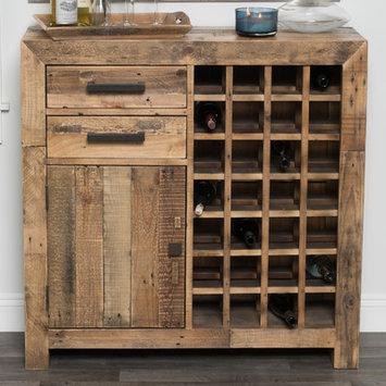 Loon Peak Marina 28 Bottle Floor Wine Cabinet Finish: Natural