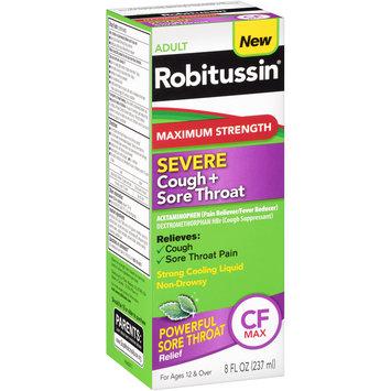 Robitussin Adult Maximum Strength Severe Cough + Sore Throat Relief Medicine, Cough Suppressant, Acetaminophen (8 Fluid Ounce Bottle)