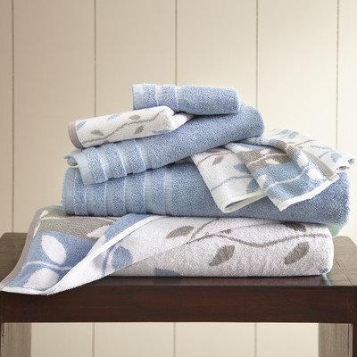 Three Posts Vines 6 Piece Towel Set Color: Blue