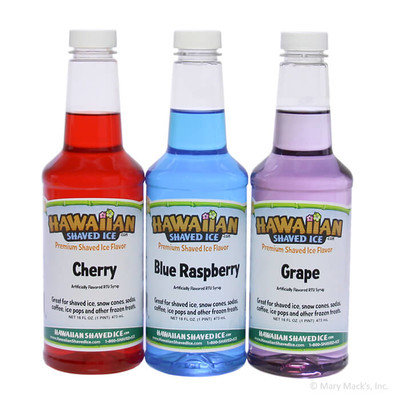 Hawaiian Shaved Ice - Shaved Ice and Snow Cone Syrups, 3-Flavors