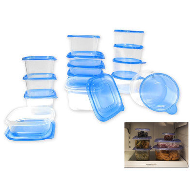 Rebrilliant Plastic 15 Container Food Storage Set Color: Blue