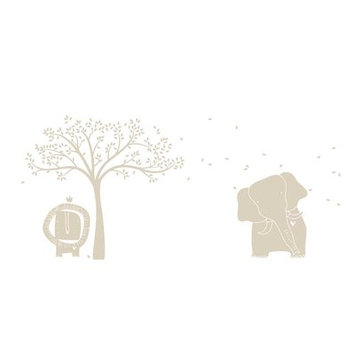 Littlelion Studio Baby Zoo Mural Monochromatic Wall Decal Color: Light Beige