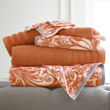 House Of Hampton Filigree Swirl 6 Piece Towel Set Color: Coral