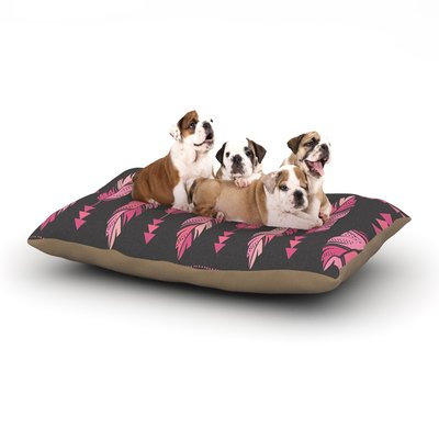 East Urban Home Amanda Lane 'Painted Feathers' Dog Pillow with Fleece Cozy Top Size: Large (50