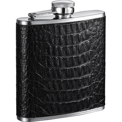 Visol Products Visol Lucas Leather 6-Ounce Hip Flask, Black
