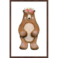 Marmont Hill Inc Marmont Hill - 'Flower Bear' by Shayna Pitch Framed Painting Print
