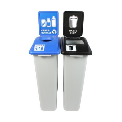 Busch Systems Waste Watcher Cans and Bottles Double 46 Gallon Recycling Bin and Trash Can Set Color: Gray/Blue/Black