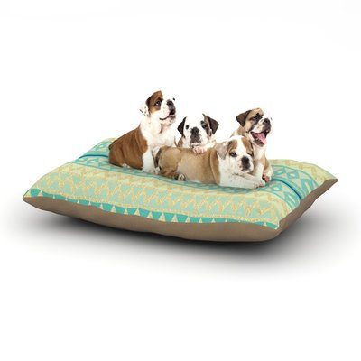 East Urban Home Nika Martinez 'Glitter Chevron in Teal' Dog Pillow with Fleece Cozy Top Size: Large (50