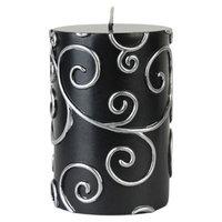 Willa Arlo Interiors Scroll Pillar Candle Color: Black, Size: 4