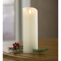 Plow & Hearth LED Pillar 7' Candle with Flicker Flame and Auto-Timer, in Cream