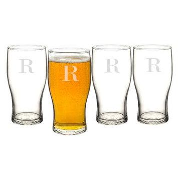 Alcott Hill Goldenberg 19 oz 4 Piece Beer Pilsner Glass Set Letter: R