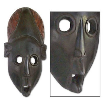 Bloomsbury Market Moni Oblong Face Akan Wood Mask Sculpture