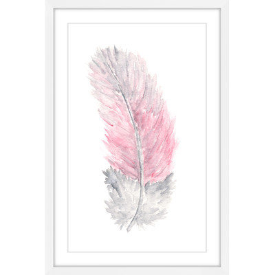Marmont Hill Inc Marmont Hill - 'Pink Feather' by Thimble Sparrow Framed Painting Print