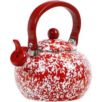 Reston Lloyd Calypso Basics Marble Whistling Teakettle, 2 quart, Red