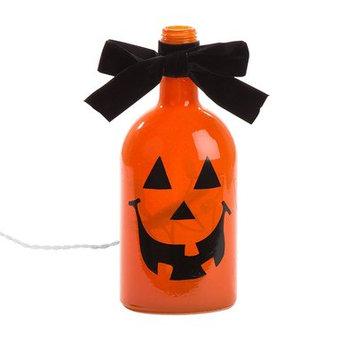 Glitz Home Halloween Frosted Pumpkin Glass Luminary