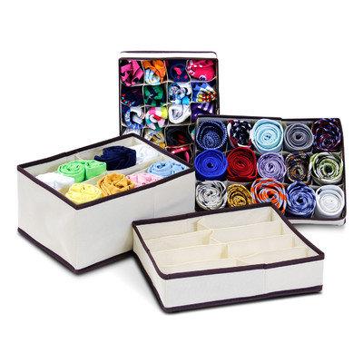 FURINNO CM1228IV Collapsible Storage Boxes Socks Underwear Ties Closet Organizer Drawer Divider Set, Ivory